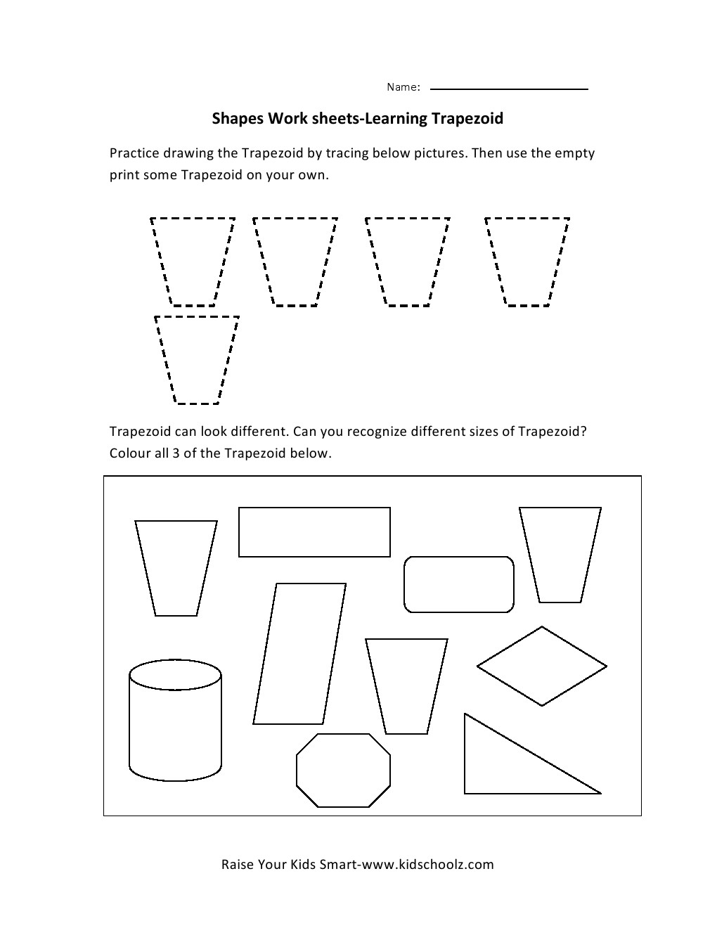 Worksheets Trapezoid Worksheet learning shapes worksheets trapezoid kidschoolzkidschoolz leave a comment