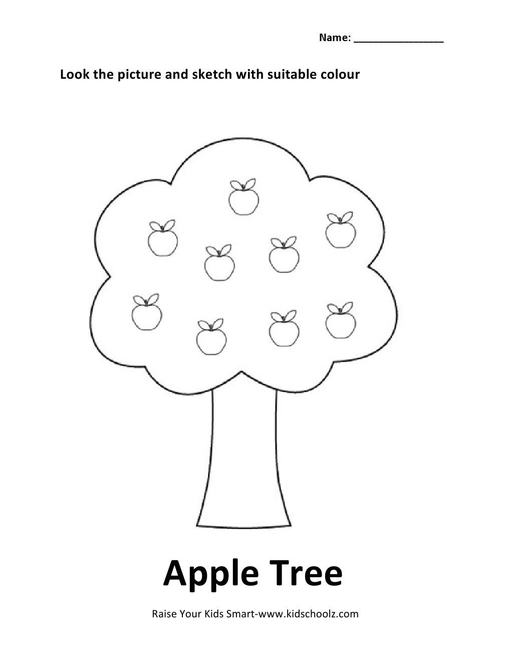 Uncategorized Apple Worksheets colouring worksheet apple tree kidschoolz tree2