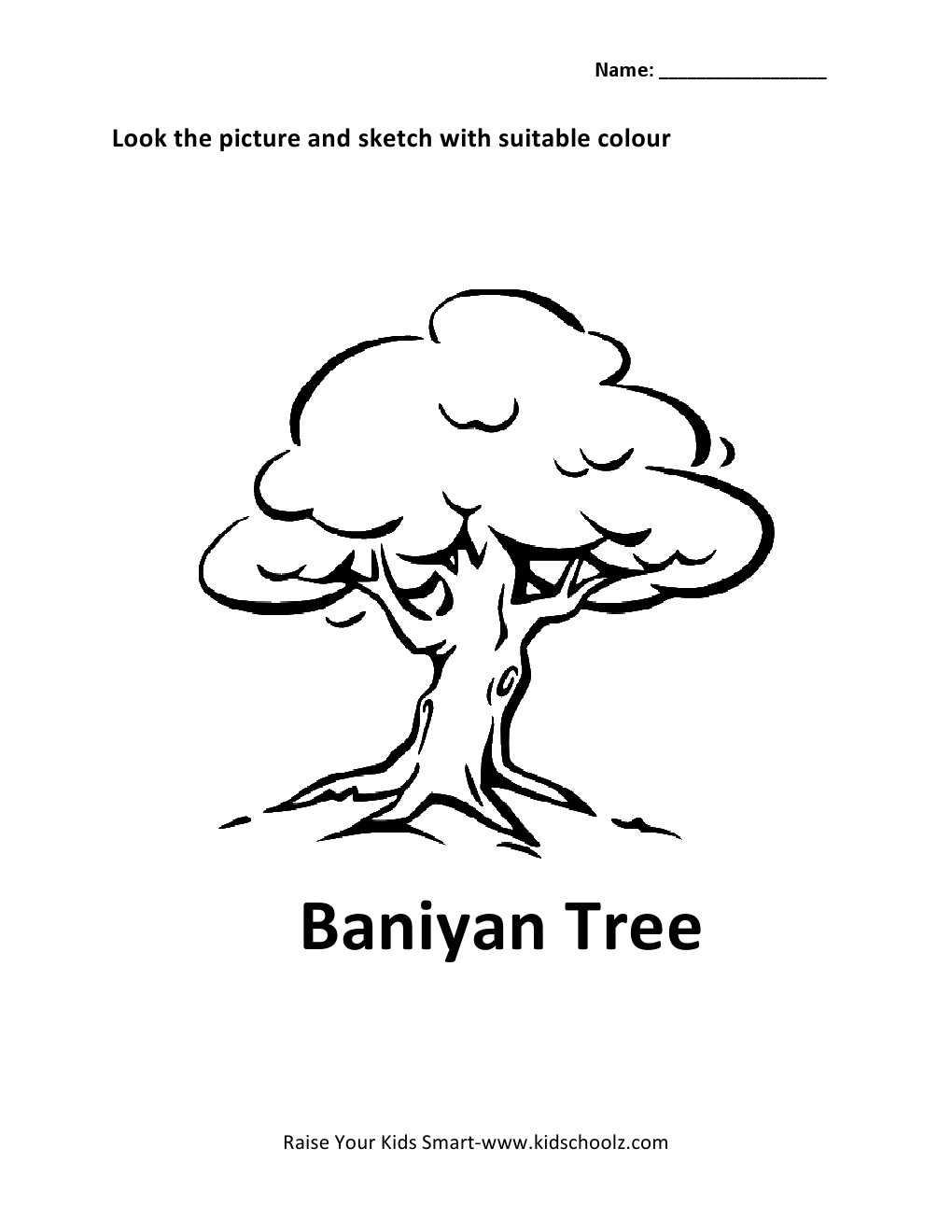 Uncategorized Parts Of A Tree Worksheet colouring worksheet baniyan tree kidschoolz tree9