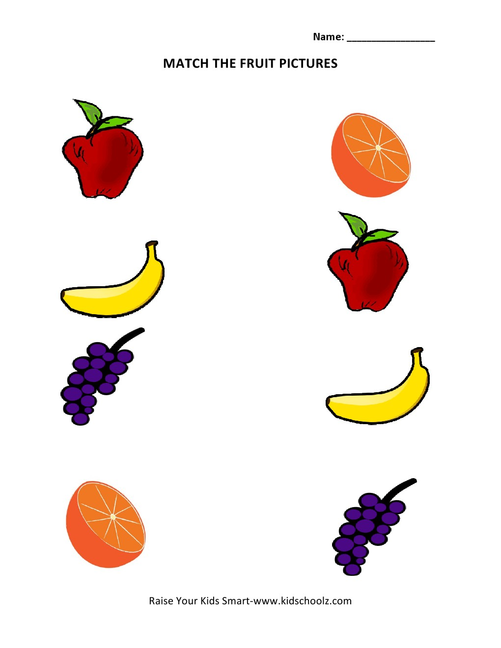 Workbooks matching preschool worksheets : Picture Matching Worksheets - Fruits - Kidschoolz