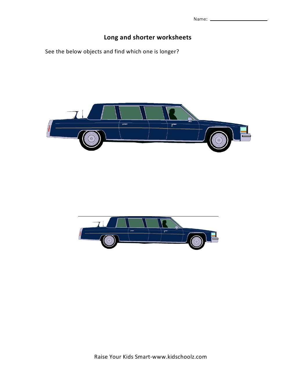 Free Worksheets body fat worksheet : UKG-Long and Short Worksheets u2013 Car - Kidschoolz