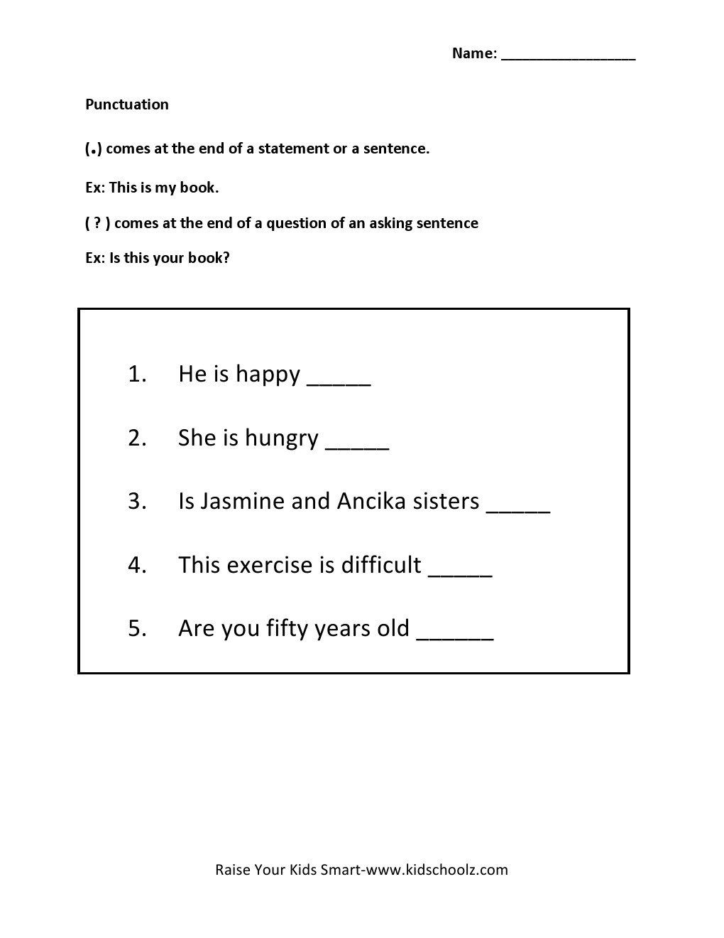 Punctuation Worksheets Grade 2 Free Worksheets Library | Download ...