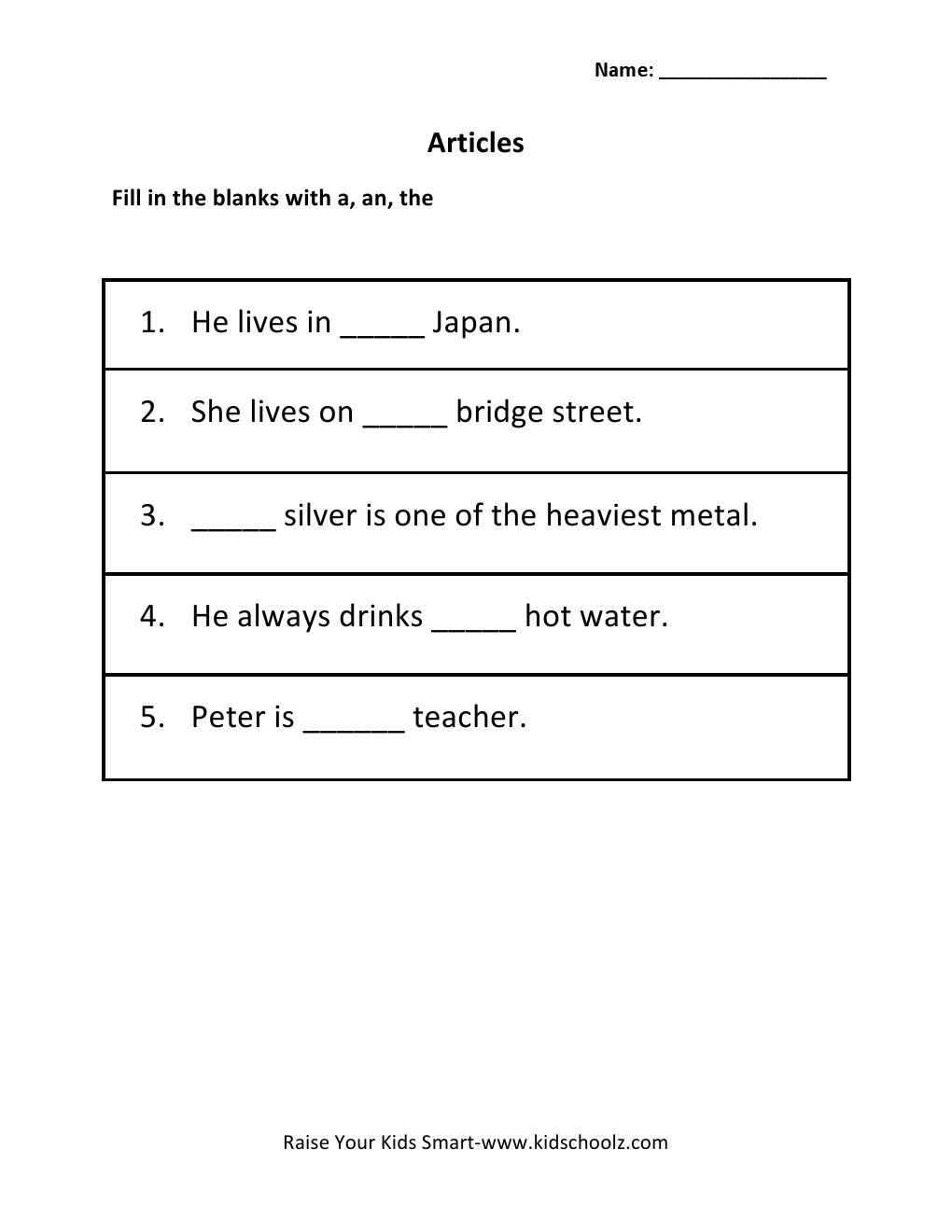 Worksheet A An And The Worksheets a an the worksheets for grade 2 laptuoso articles worksheet 5 kidschoolzkidschoolz