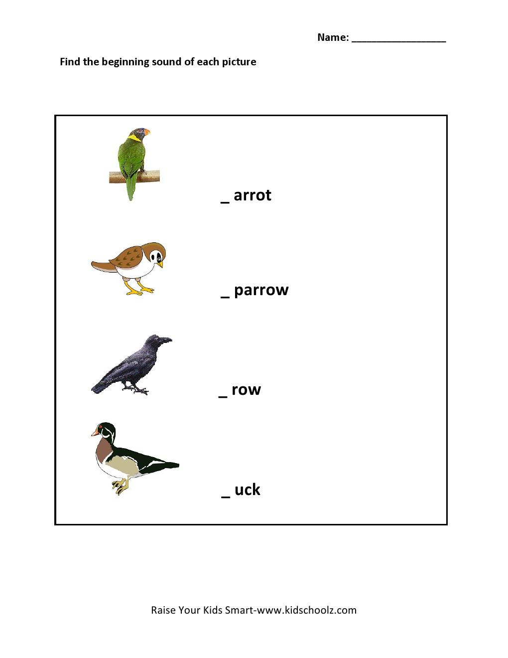 Free Worksheets body fat worksheet : Grade 1 - Sound Worksheet 3 - Kidschoolz