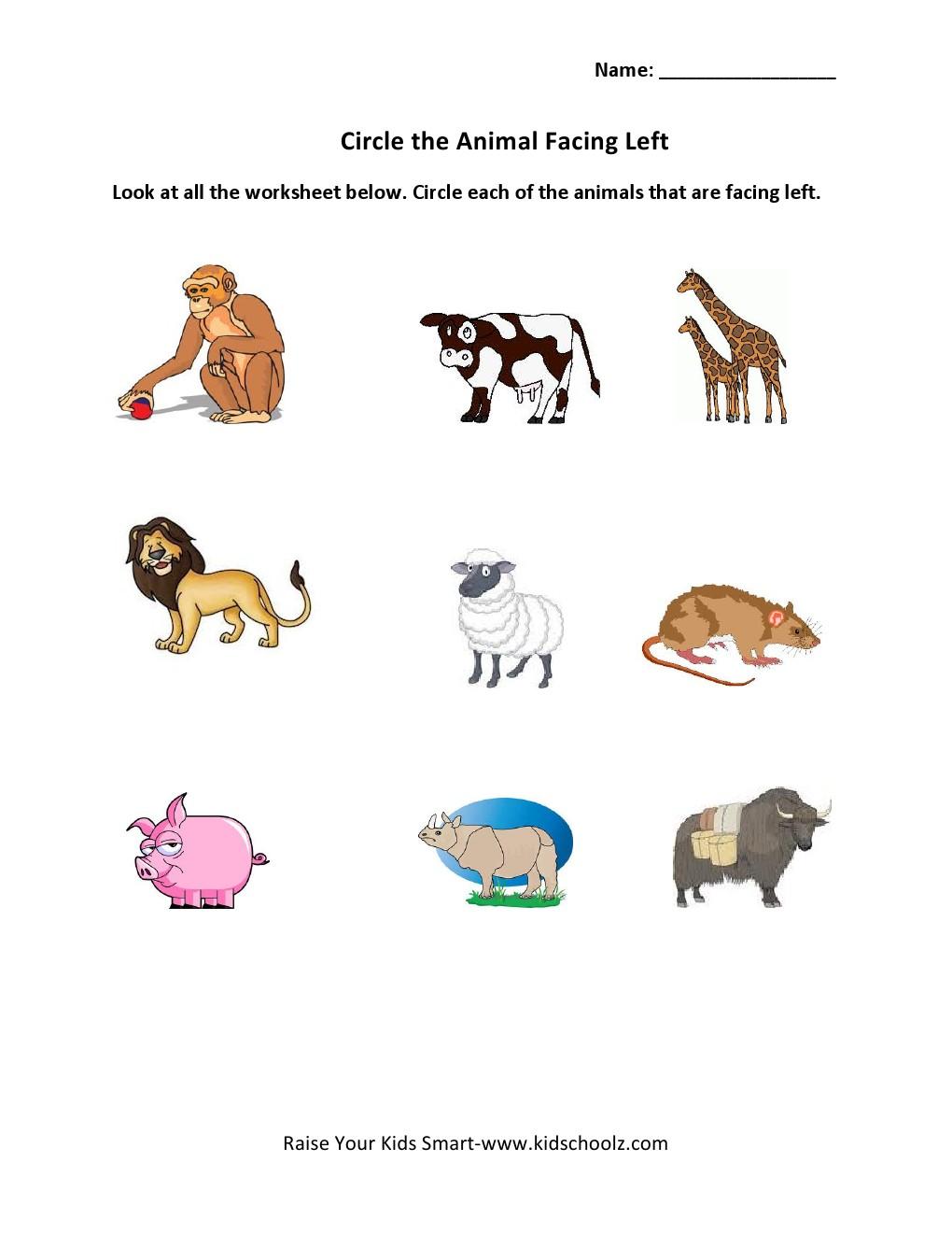 Grade 1 - Direction Worksheet 2 - Kidschoolz