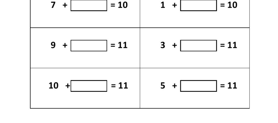 Grade 1 Addition Missing Numbers Identification Worksheet 4 – Missing Number Addition Worksheet