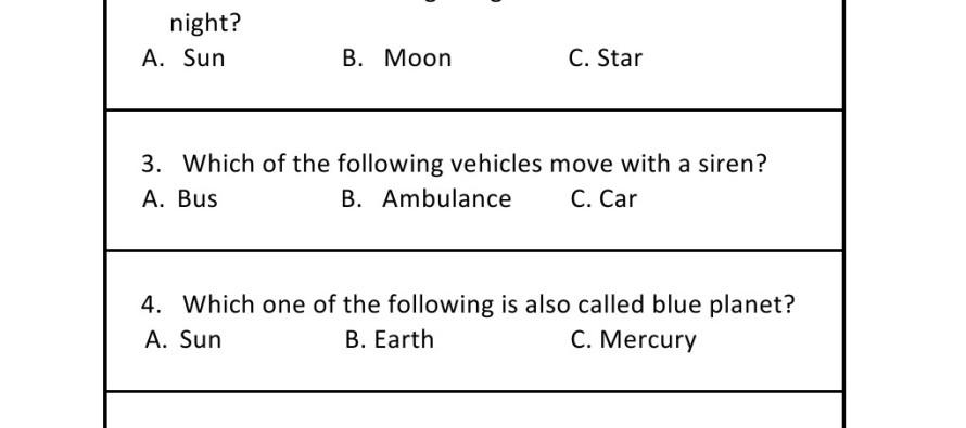 Grade 1 - General Knowledge Worksheet 6