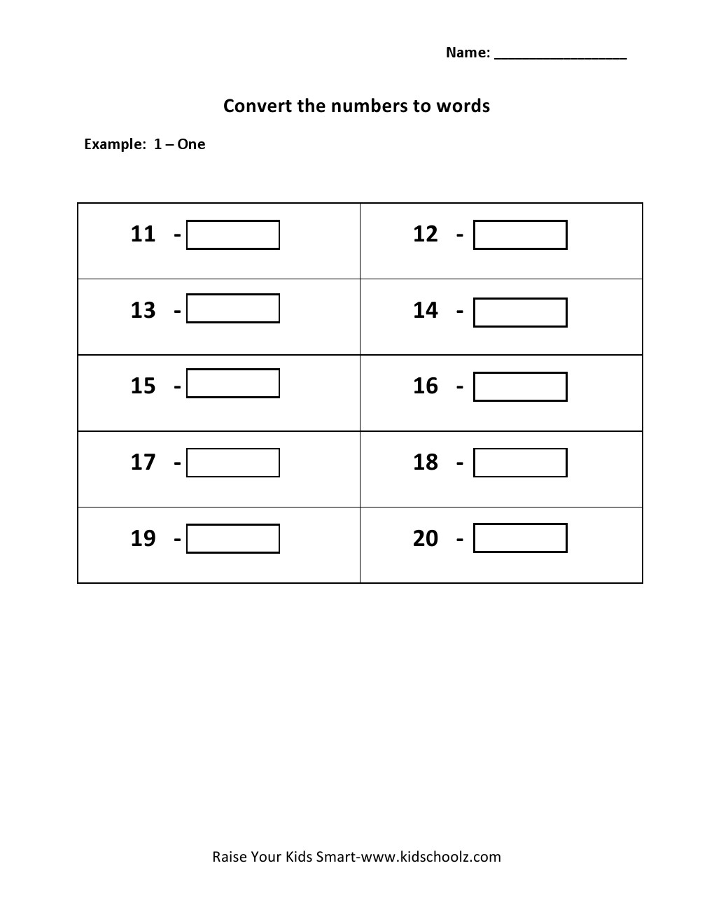 grade 1 convert numbers to words worksheet 11 20 kidschoolz