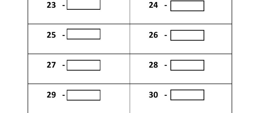 Grade 1 - Convert Numbers To Words Worksheet (21 - 30)