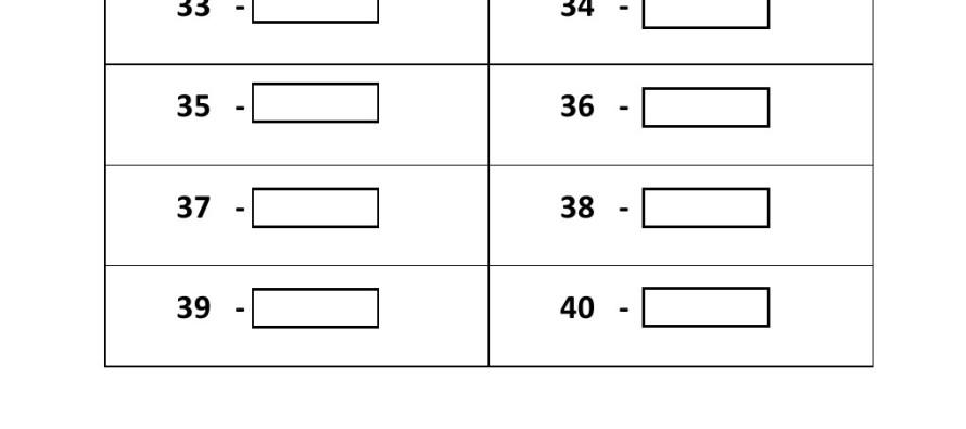 Grade 1 - Convert Numbers To Words Worksheet (31 - 40) -