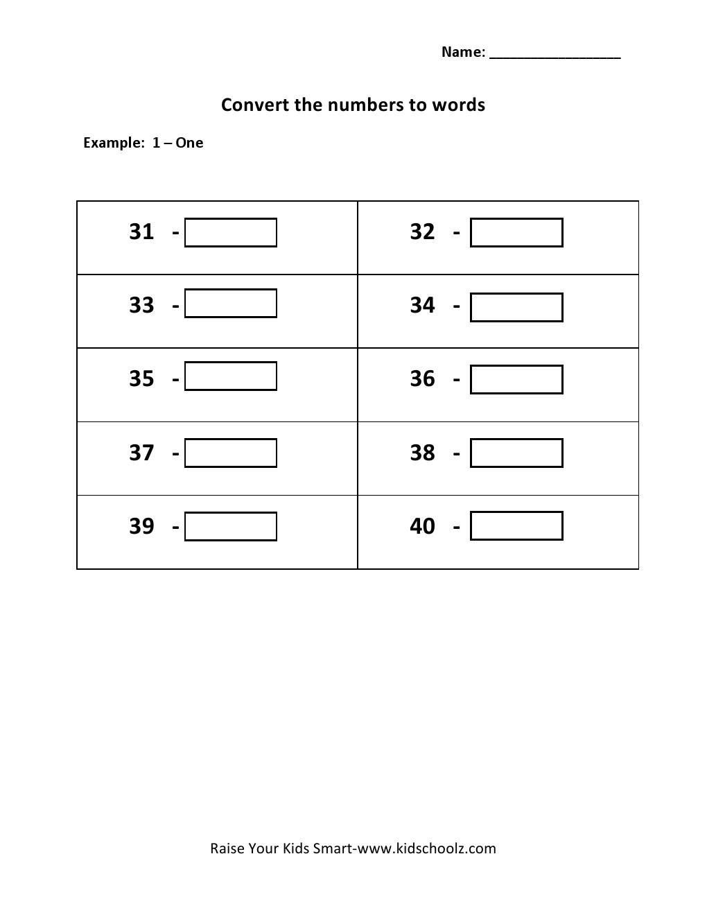 Grade 1 convert numbers to words worksheet 31 40 kidschoolz numbers to words worksheet robcynllc Image collections