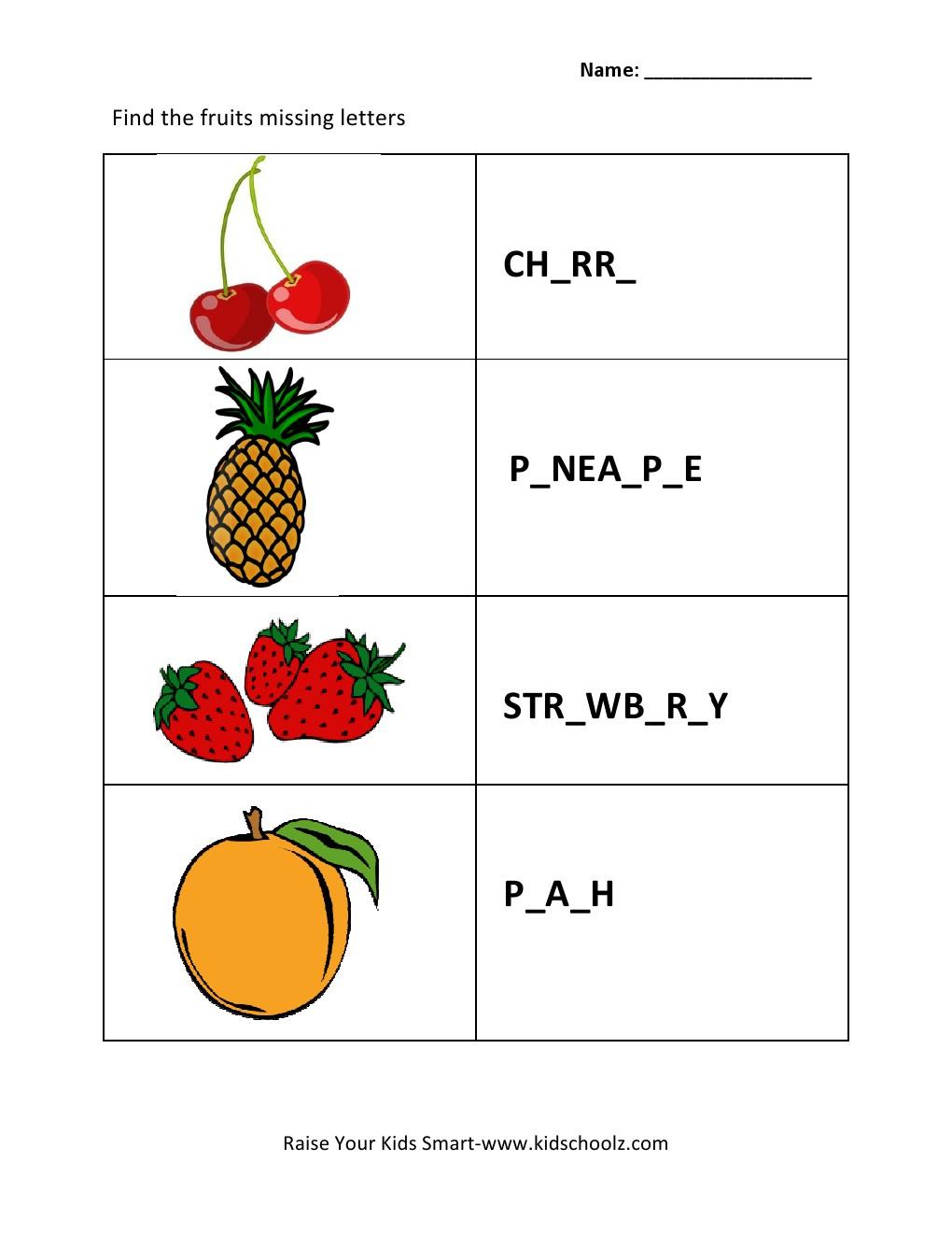 Grade 2 - Missing Letters Worksheet 2 -