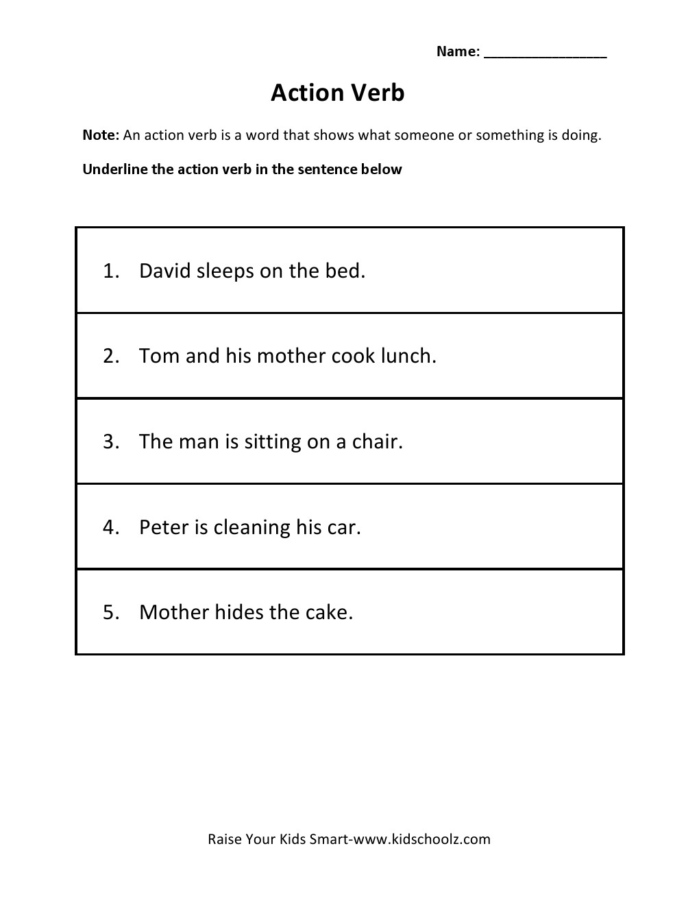 Grade 2 - Action Verb Worksheet 1 -