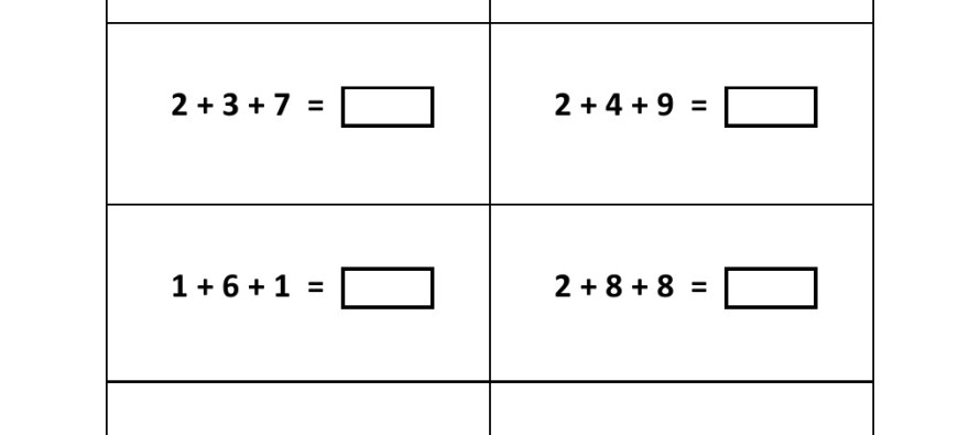 Addition worksheets on addition for grade 2 Worksheets On – Adding 3 Numbers Worksheets