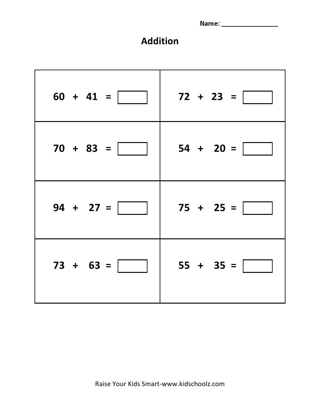 Grade 2 - Addition Worksheet