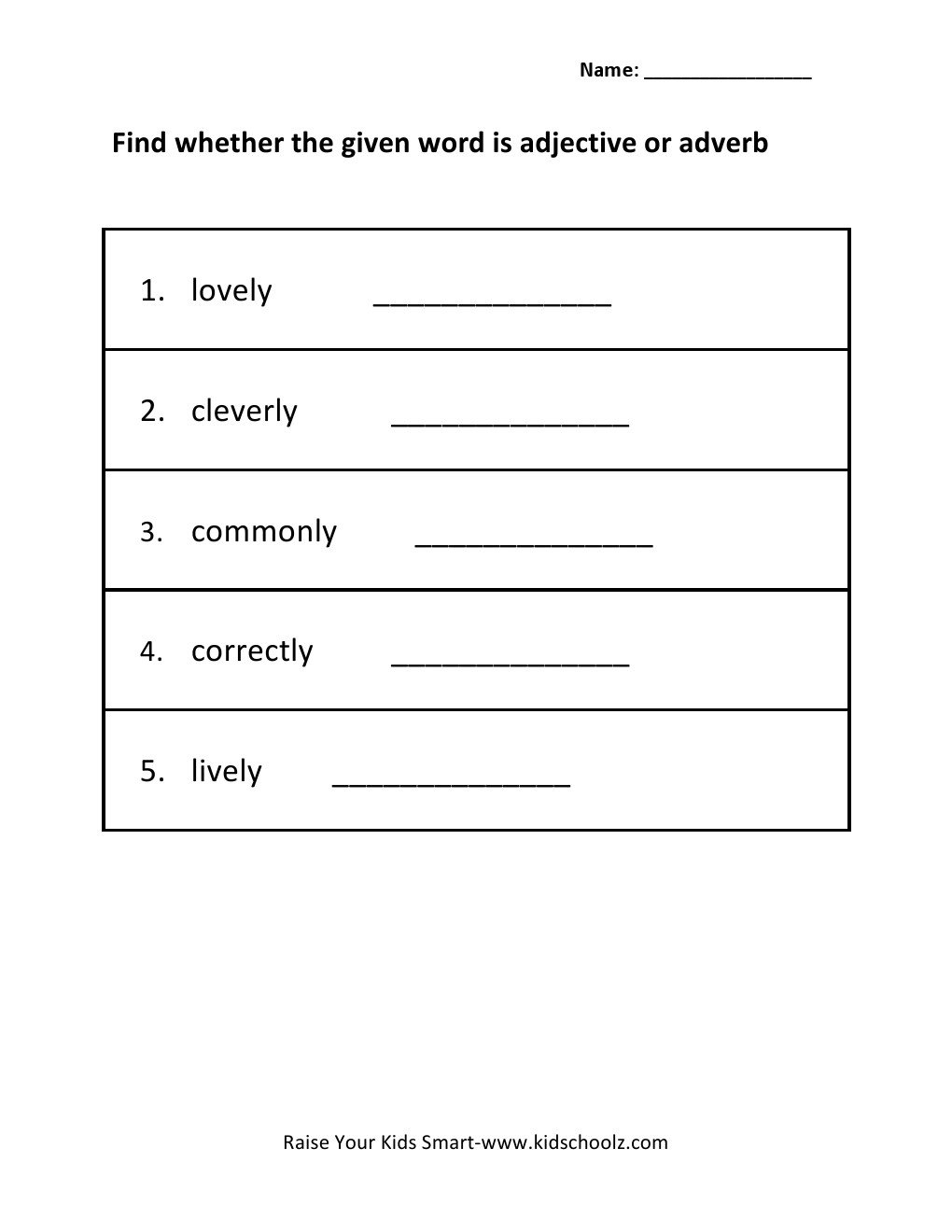 Grade 4 - Identify Adjective and Adverb Worksheet 4 - Kidschoolz