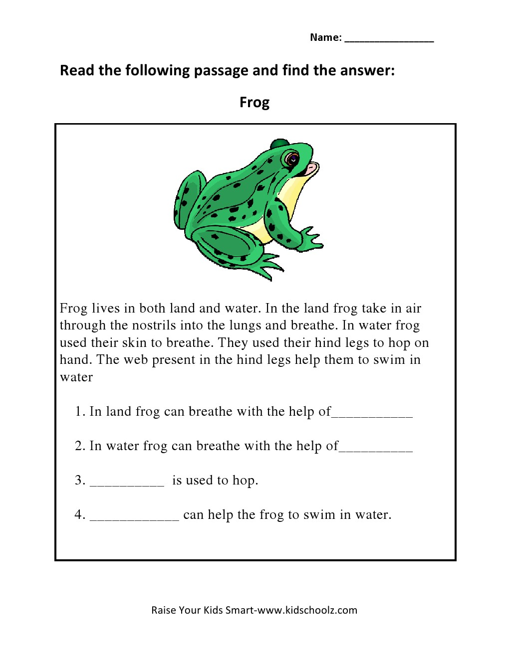 Workbooks water cycle worksheets for grade 2 : Grade 3 - Animals Read and Answers Worksheet 2 - Kidschoolz