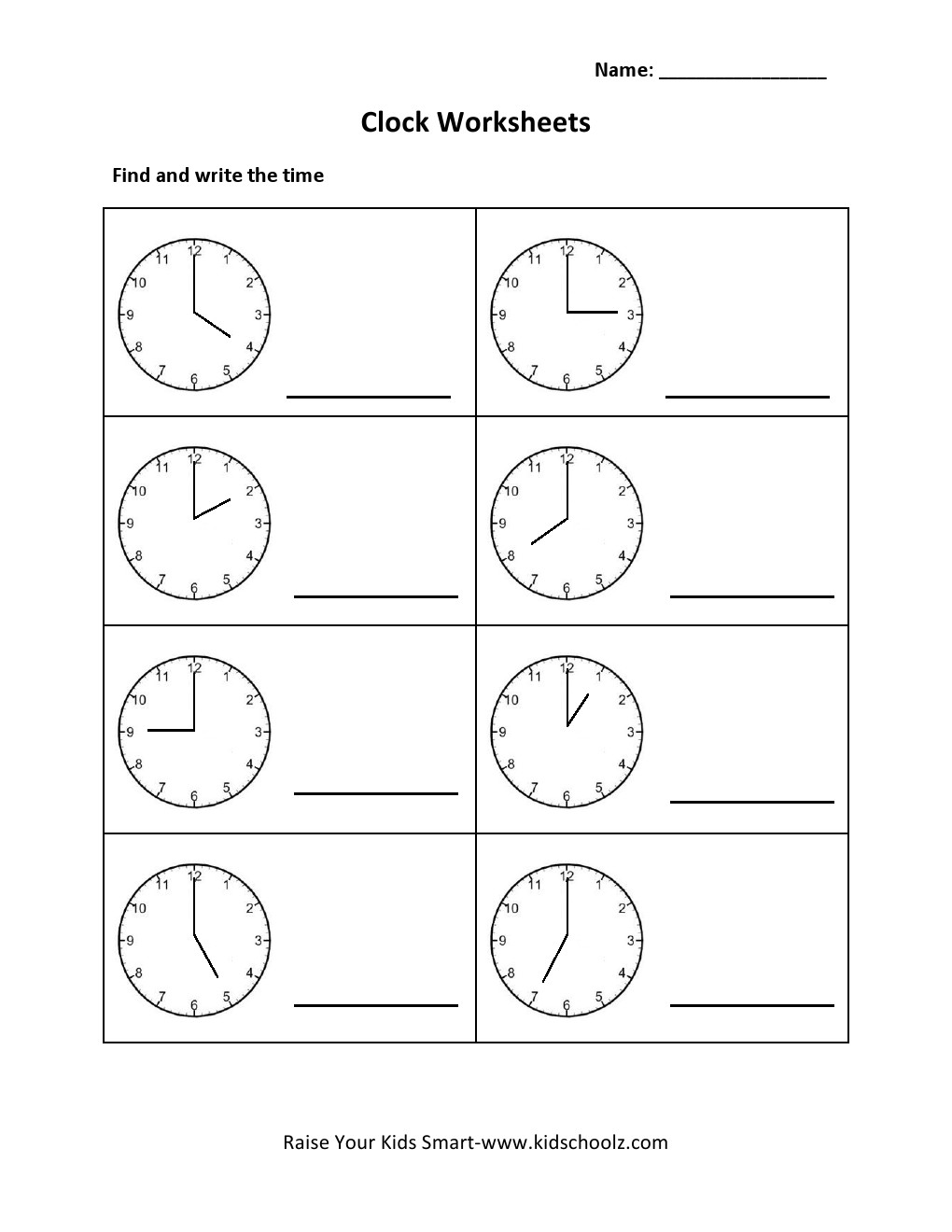 Worksheets Clock Worksheets Grade 2 grade 2 clock worksheet kidschoolz worksheets