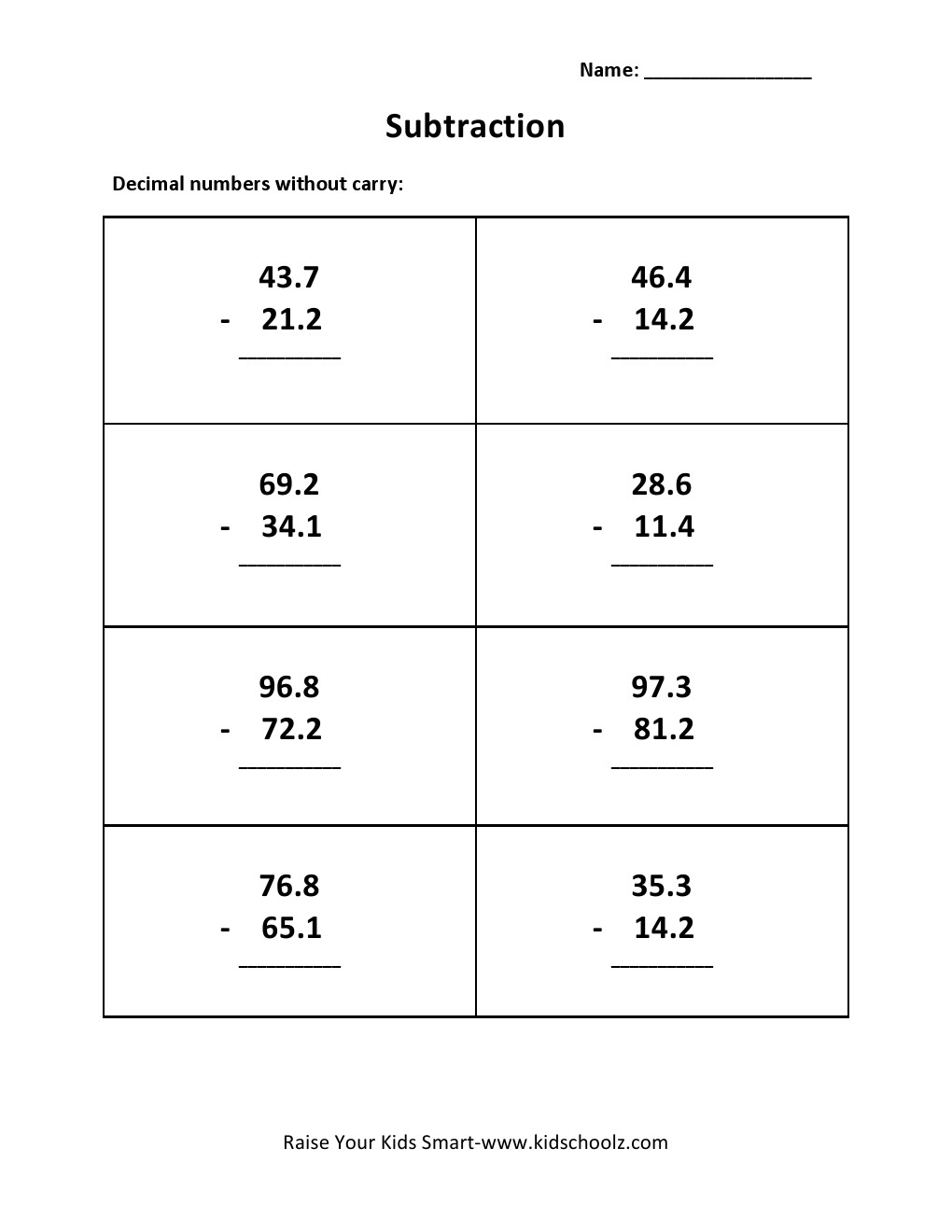 Grade 3 Decimal Subtraction Worksheet 2 KidschoolzKidschoolz – Decimal Subtraction Worksheets