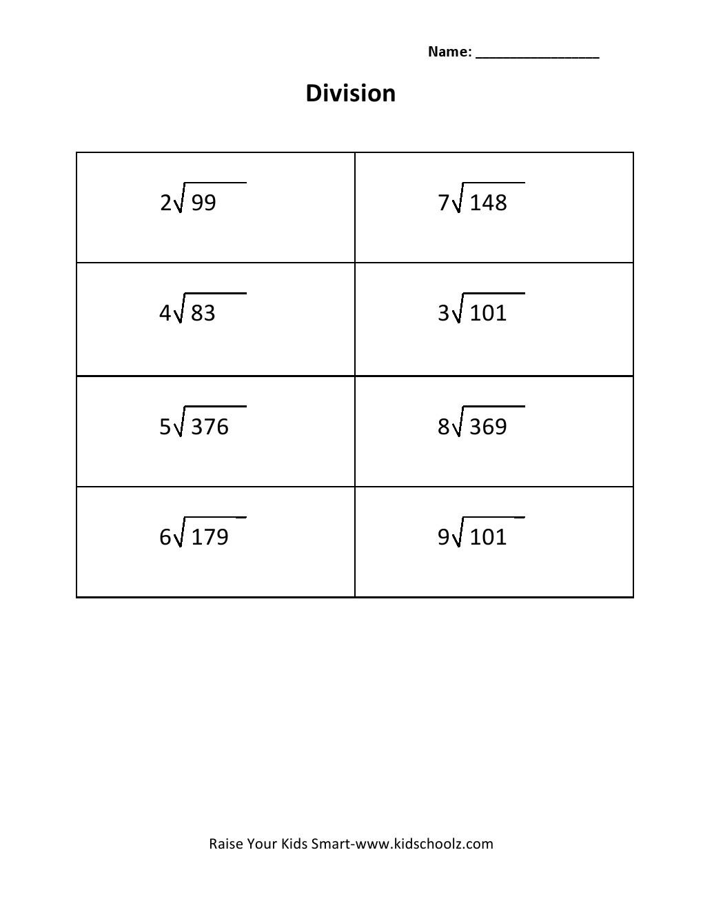 Free Worksheets body fat worksheet : Grade 3 - Division Worksheet 5 - Kidschoolz