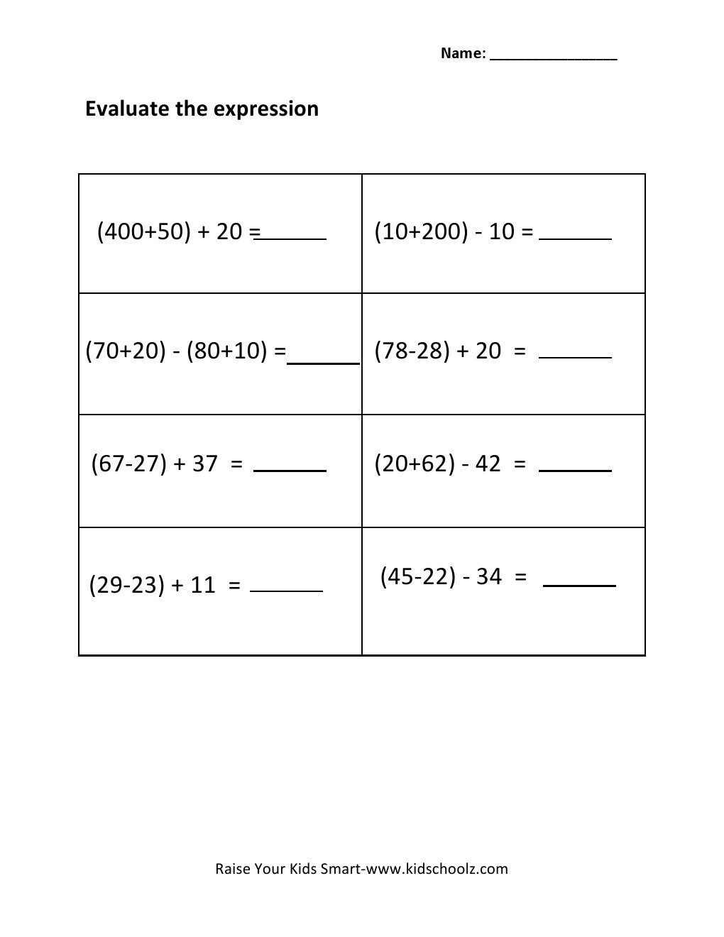 Worksheets Evaluate The Expression Worksheet grade 3 evaluating algebraic expressions worksheet 2 worksheet