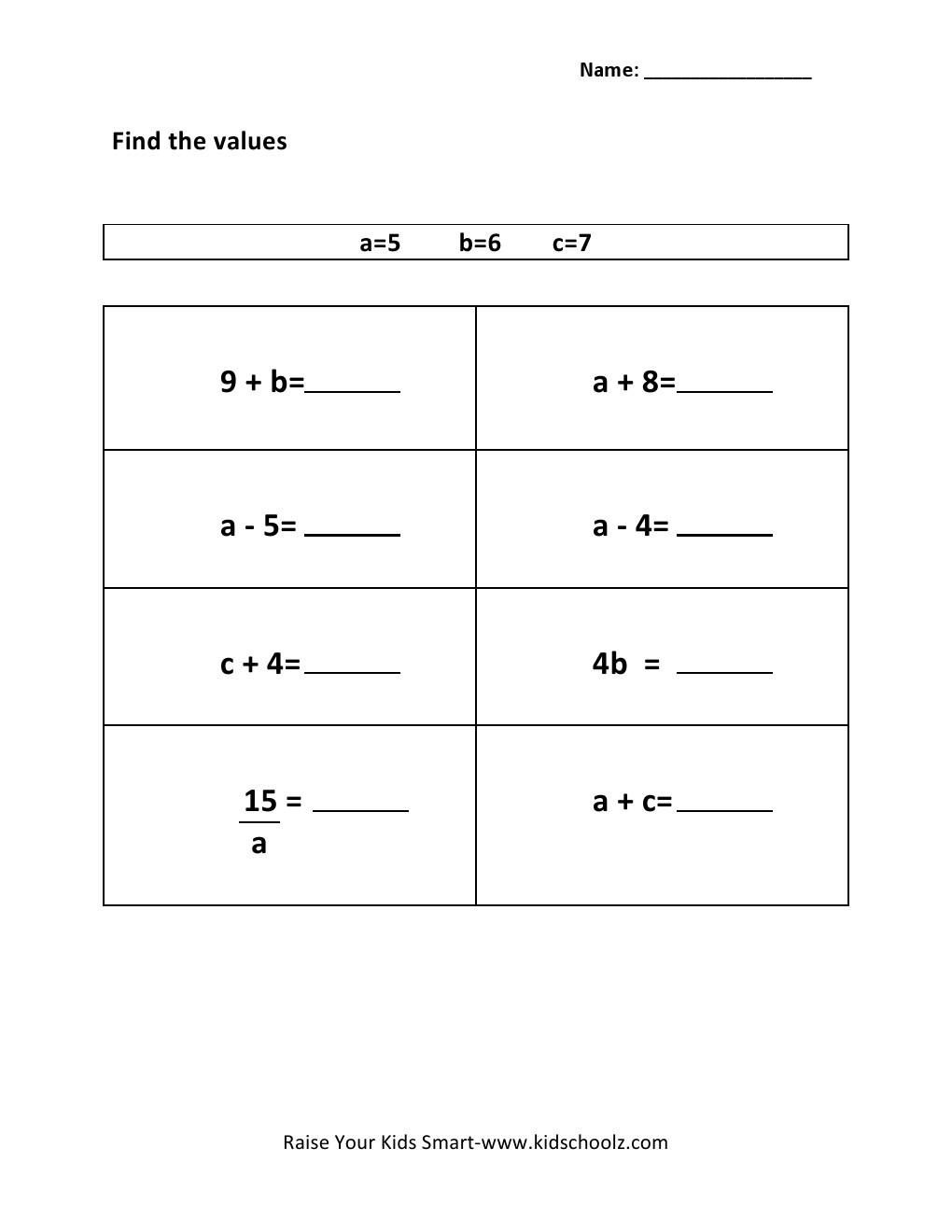 Evaluating Expressions Worksheet Fifth Grade Further Worksheet On ...