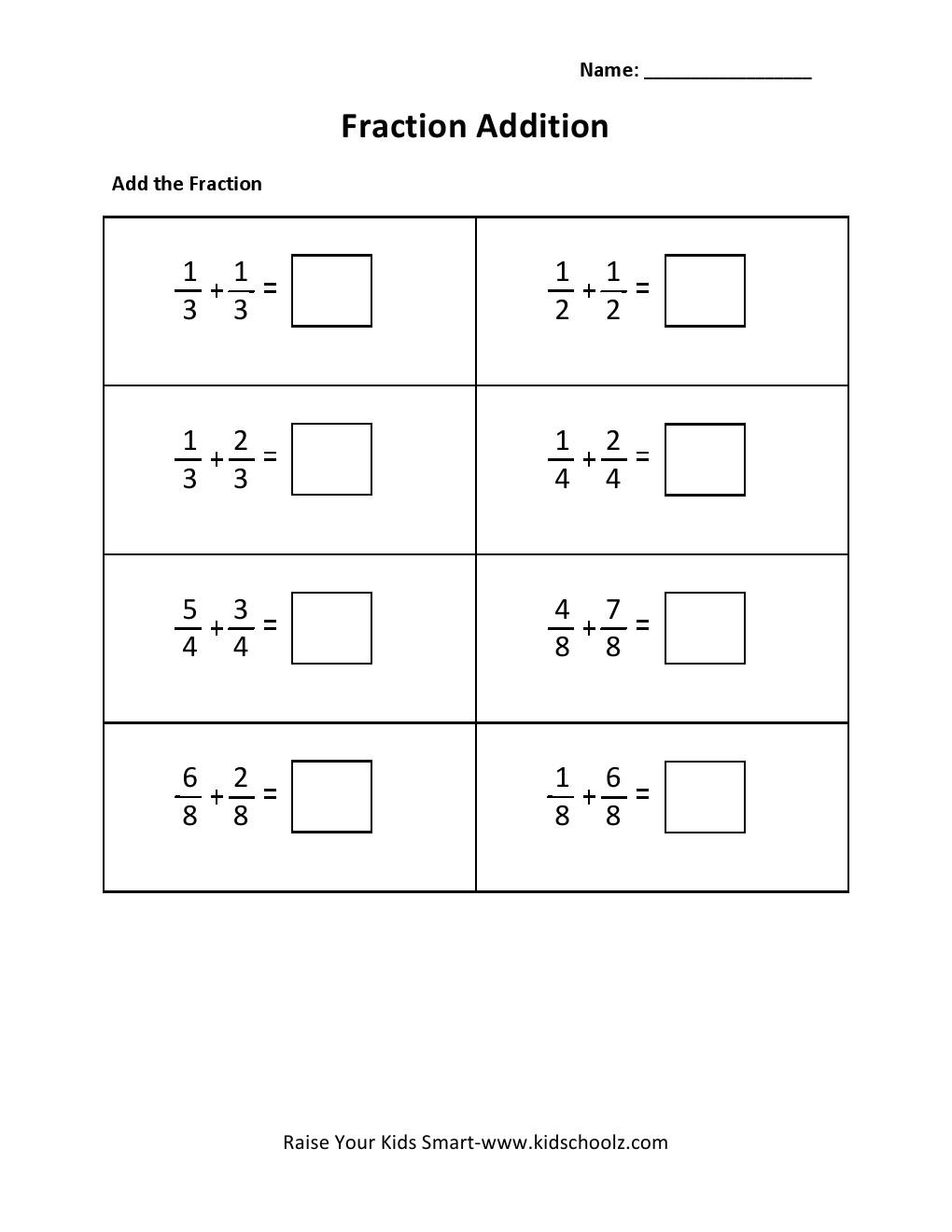 Grade 3 Fraction Addition Worksheet 1 – Grade 3 Addition Worksheets