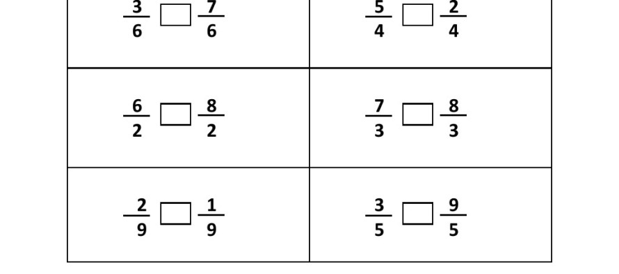 Grade 3 Comparing Fraction Worksheet 2 – Worksheet on Fractions for Grade 2
