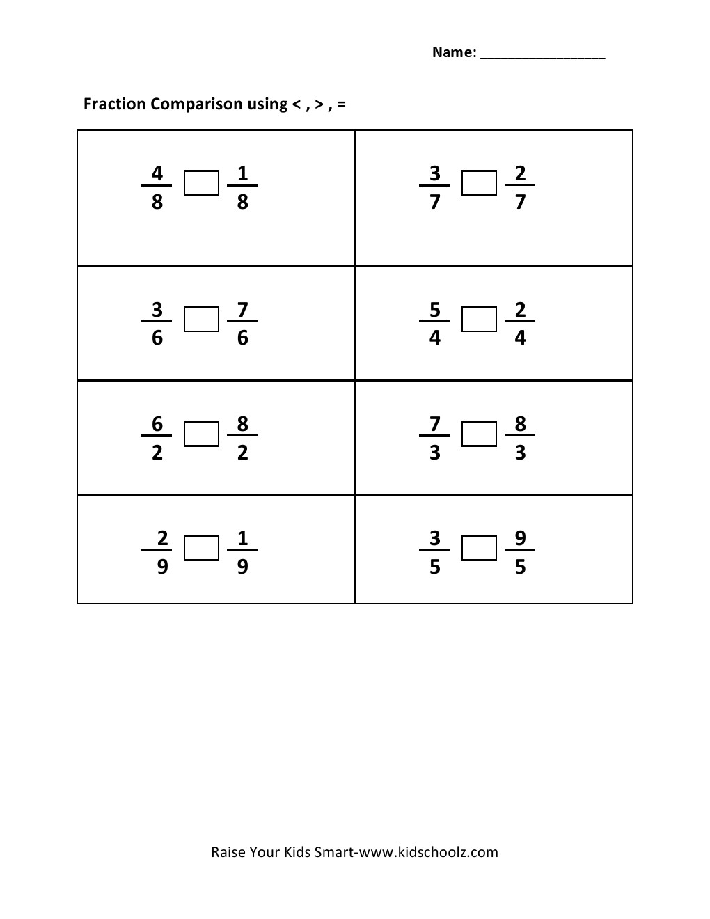 worksheet Comparing Fraction Worksheet grade 3 comparing fraction worksheet 2 kidschoolz worksheet