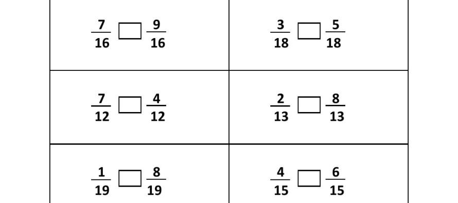 Grade 3 Comparing Fraction Worksheet 5 – Fraction Worksheets for Grade 3