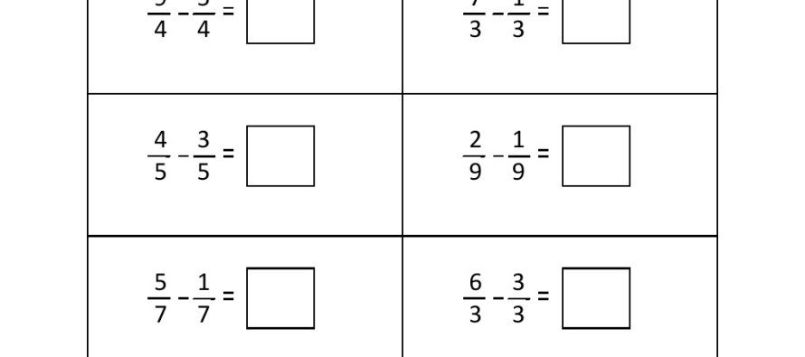 Grade 3 Fraction Subtraction Worksheet 2 – Fraction Worksheets Year 2