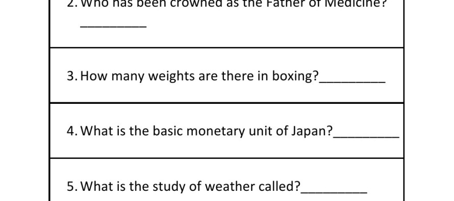 In this worksheet kids can learn about general knowledge questions. In ...