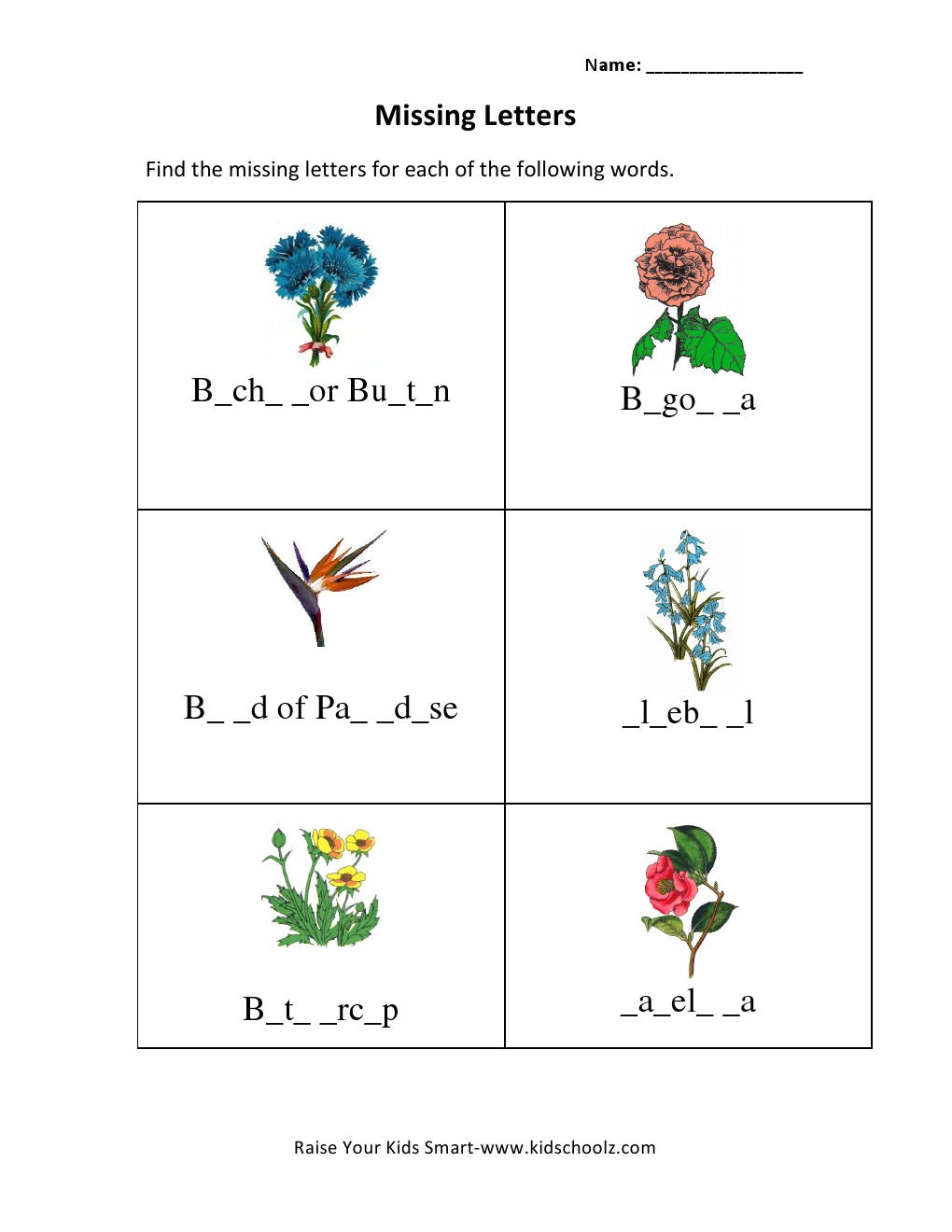 Grade 3 Missing Letters Worksheet