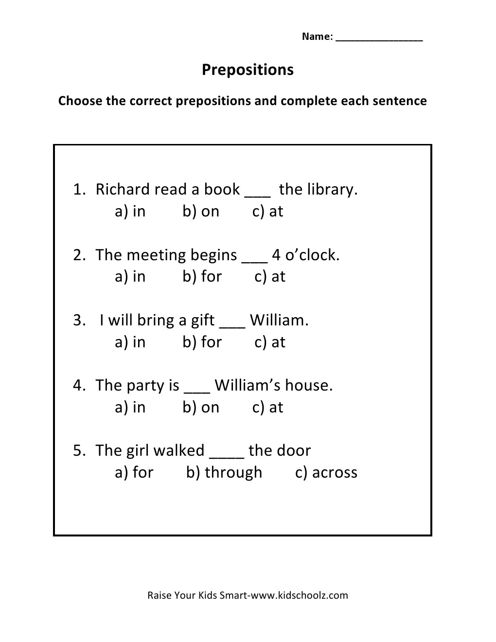 Workbooks worksheets for grade 3 : Grade 3 - Prepositions Worksheet 1 - Kidschoolz