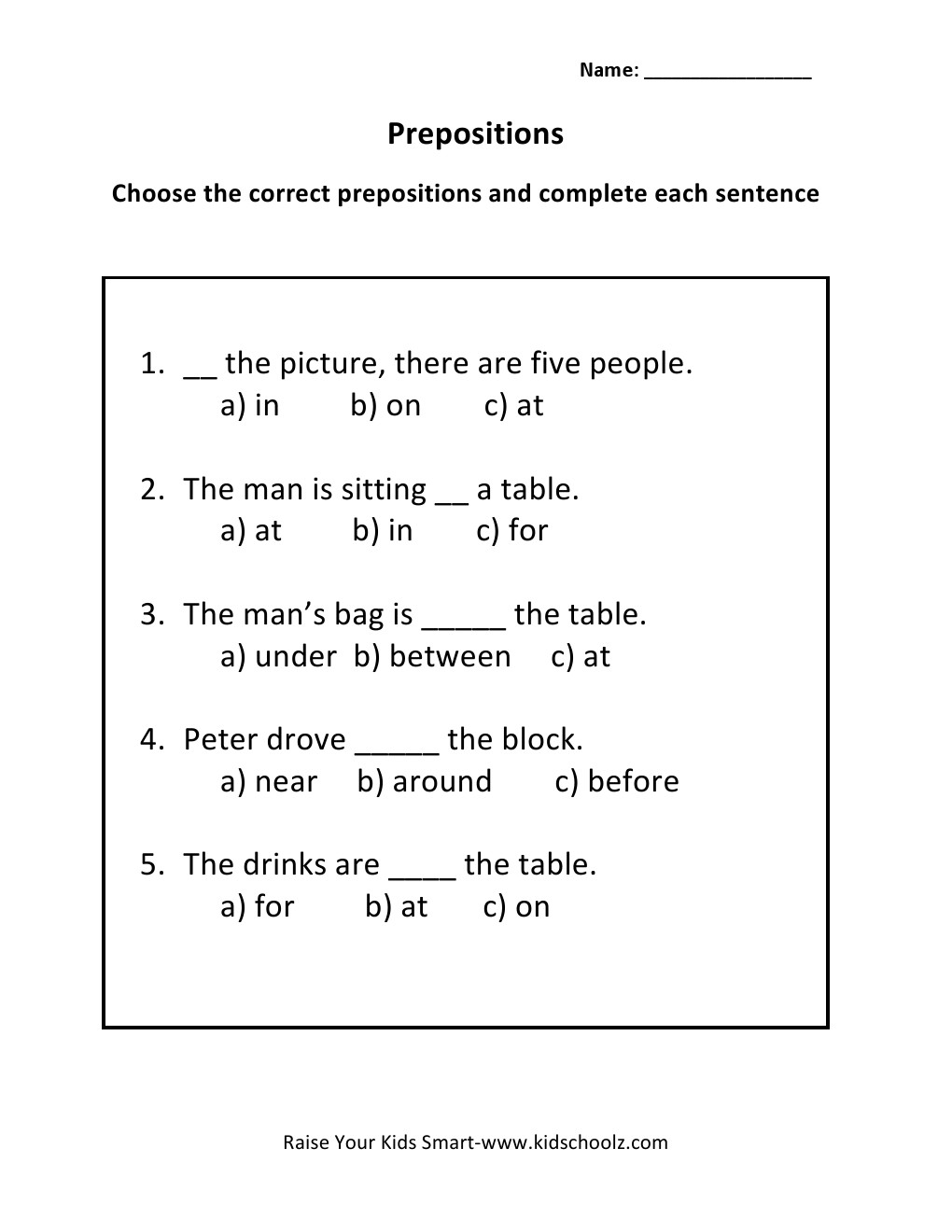 math worksheet : grade 3  prepositions worksheet 3  : Preposition Worksheets Kindergarten