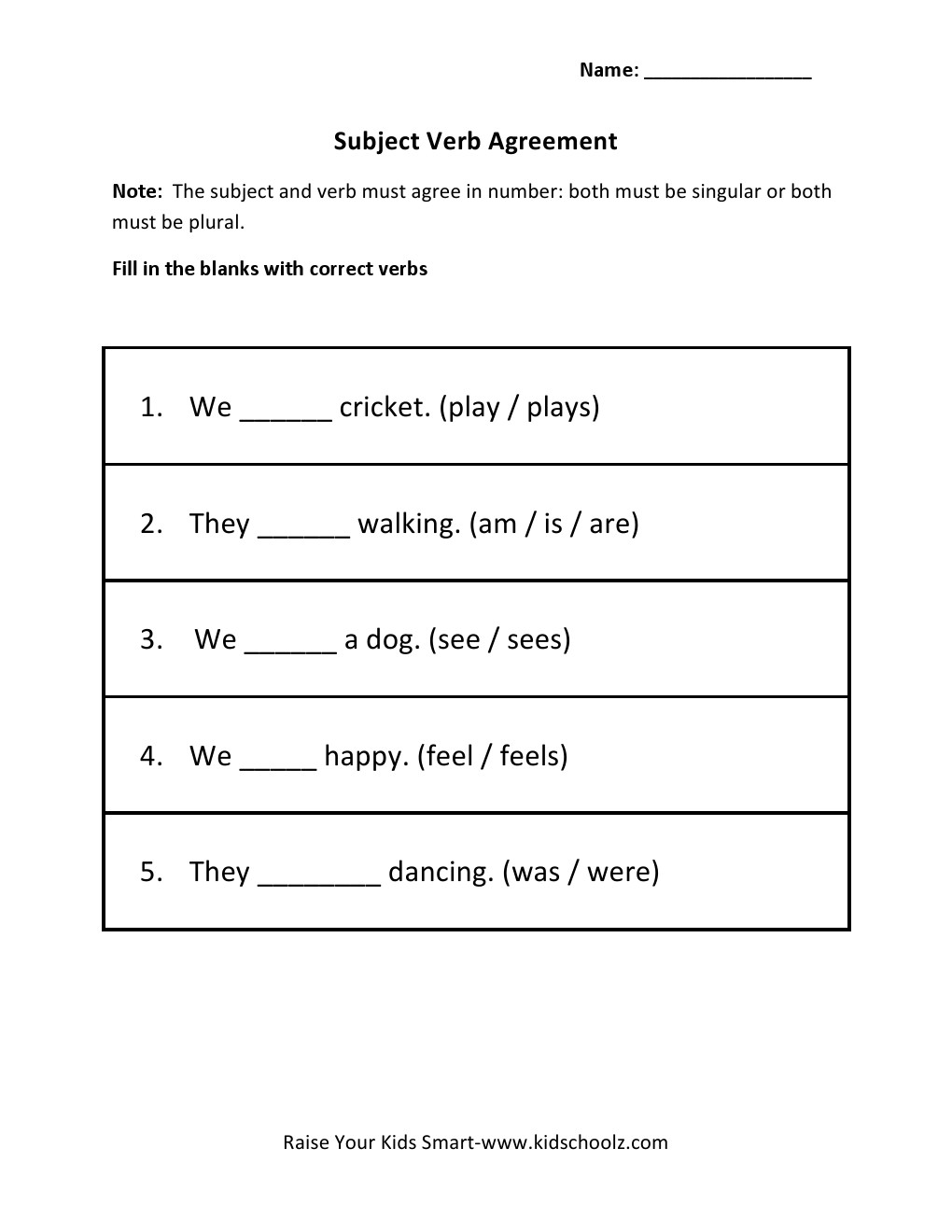 worksheet Subject And Verb Agreement Worksheets grade 3 subject verb agreement worksheet 5 kidschoolz worksheet