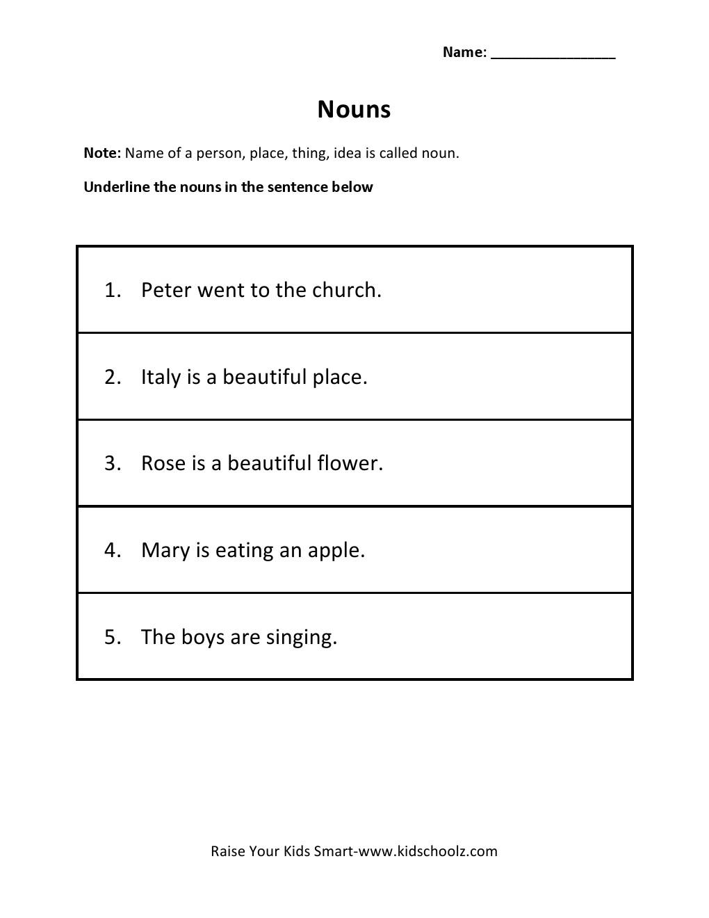 Workbooks noun practice worksheets : Underline Nouns Worksheet For Grade 1: Falling into first ...