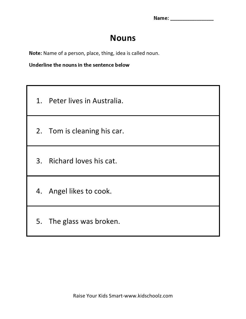 Grade 2 - Underline Nouns Worksheet 2 - KidschoolzKidschoolz alphabet worksheets, learning, worksheets, and free worksheets Underline The Nouns Worksheet 2 1320 x 1020