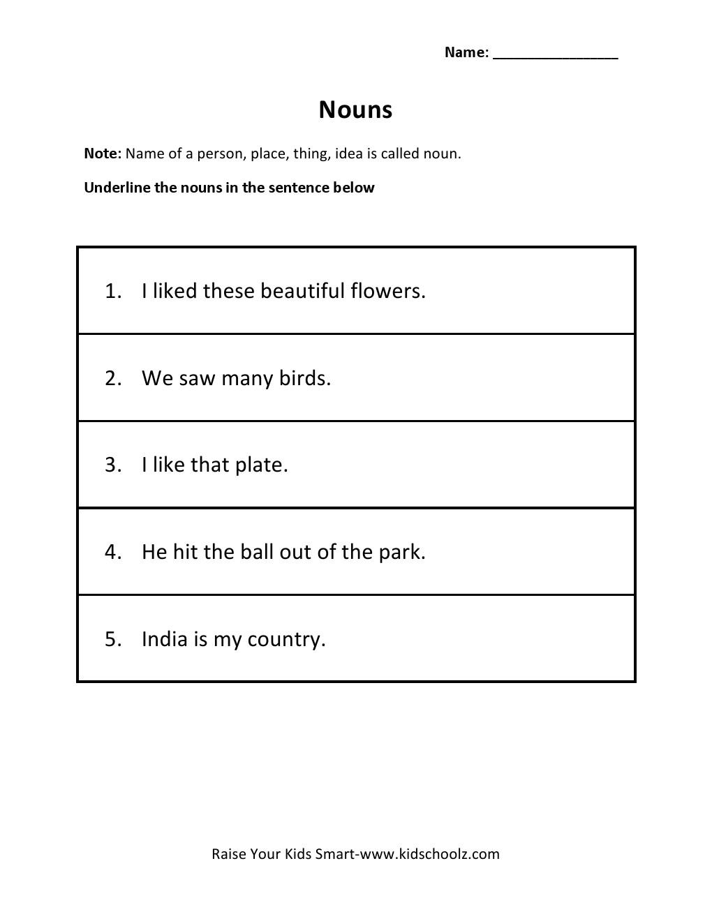 Grade 2 - Underline Nouns Worksheet 4 - alphabet worksheets, learning, worksheets, and free worksheets Underline The Nouns Worksheet 2 1320 x 1020