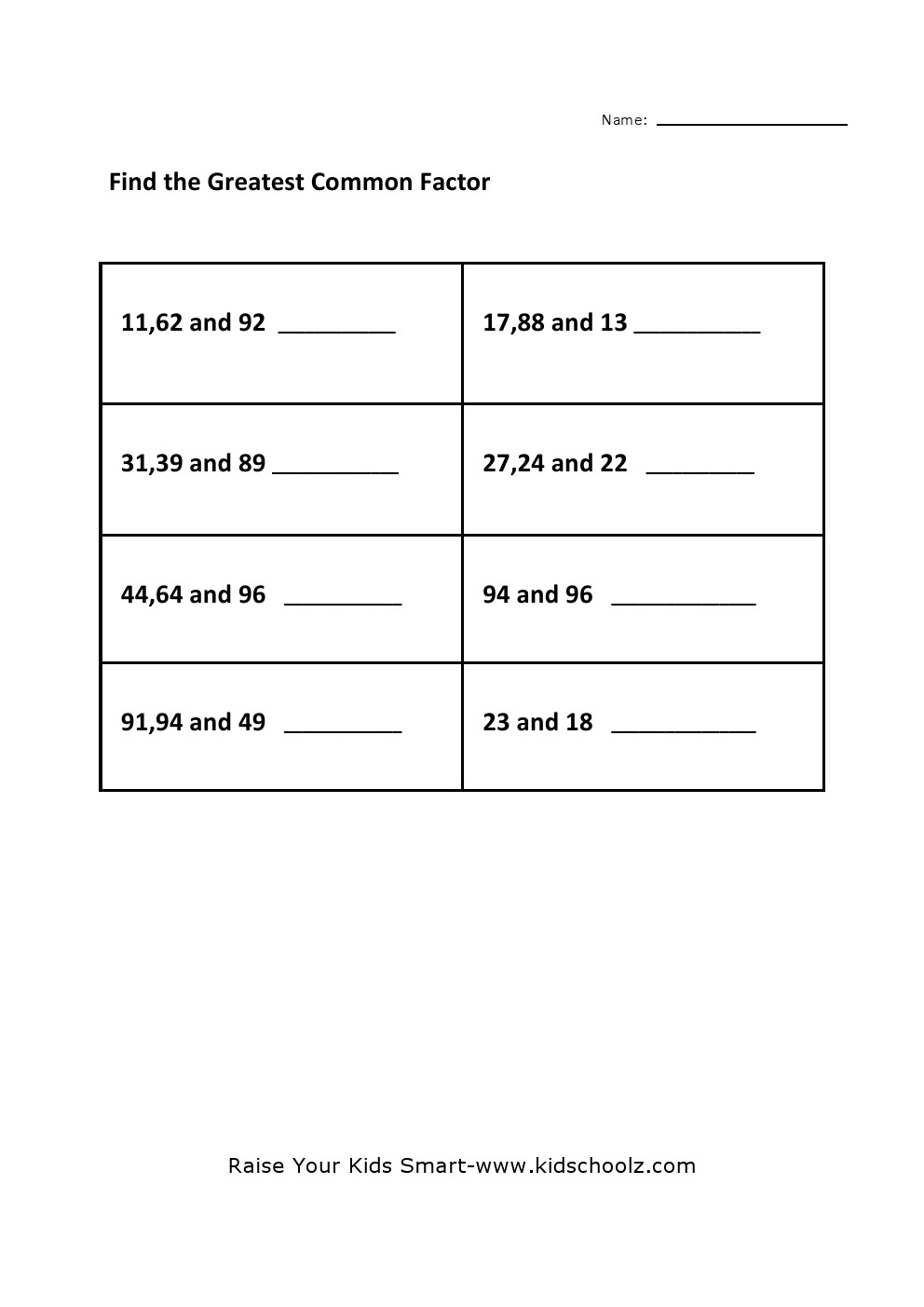 Worksheets Gcf Worksheet grade 4 greatest common factor worksheet 5 kidschoolz worksheet