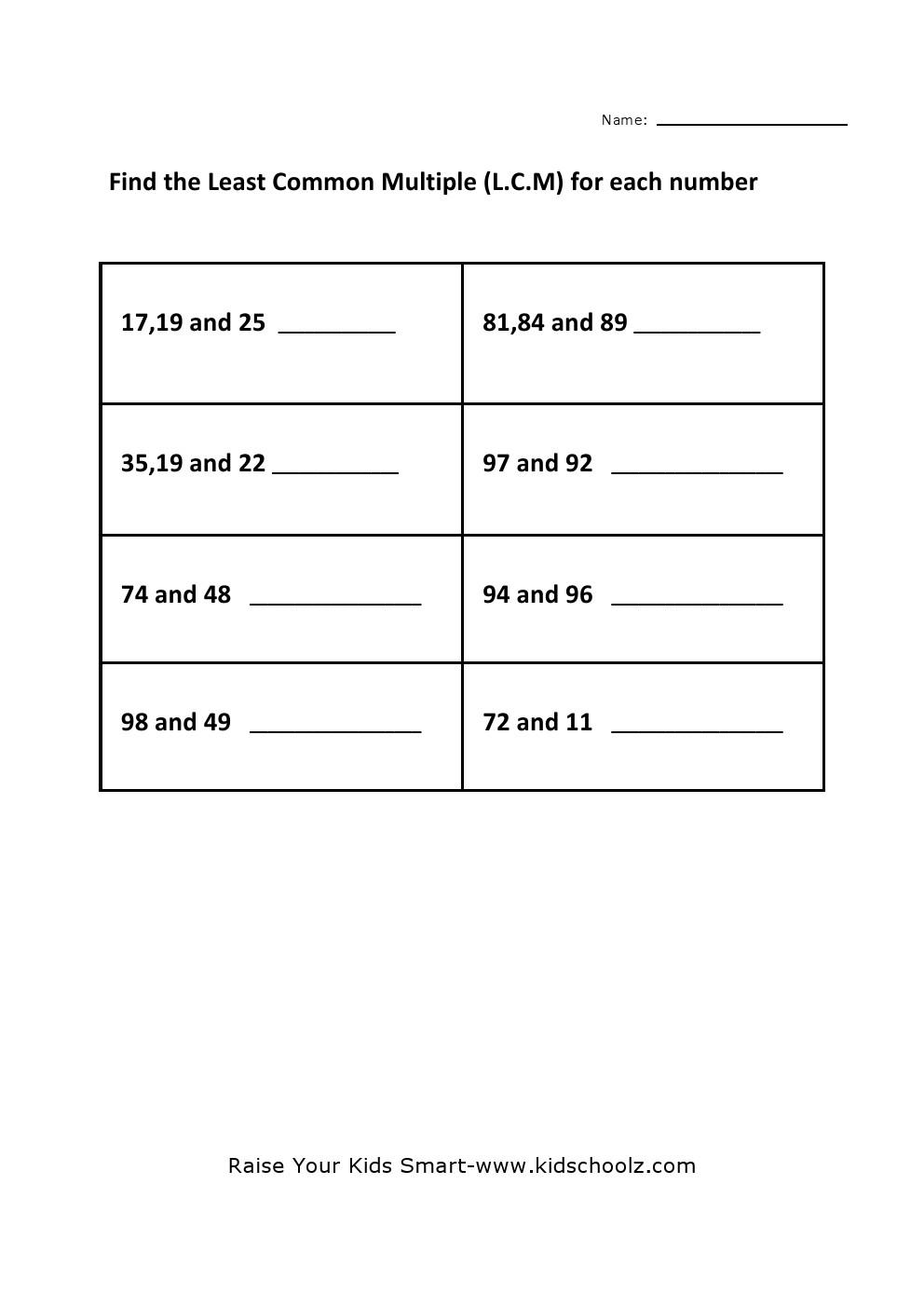 Worksheets Lcm Worksheet grade 4 least common multiple lcm worksheet kidschoolz worksheet
