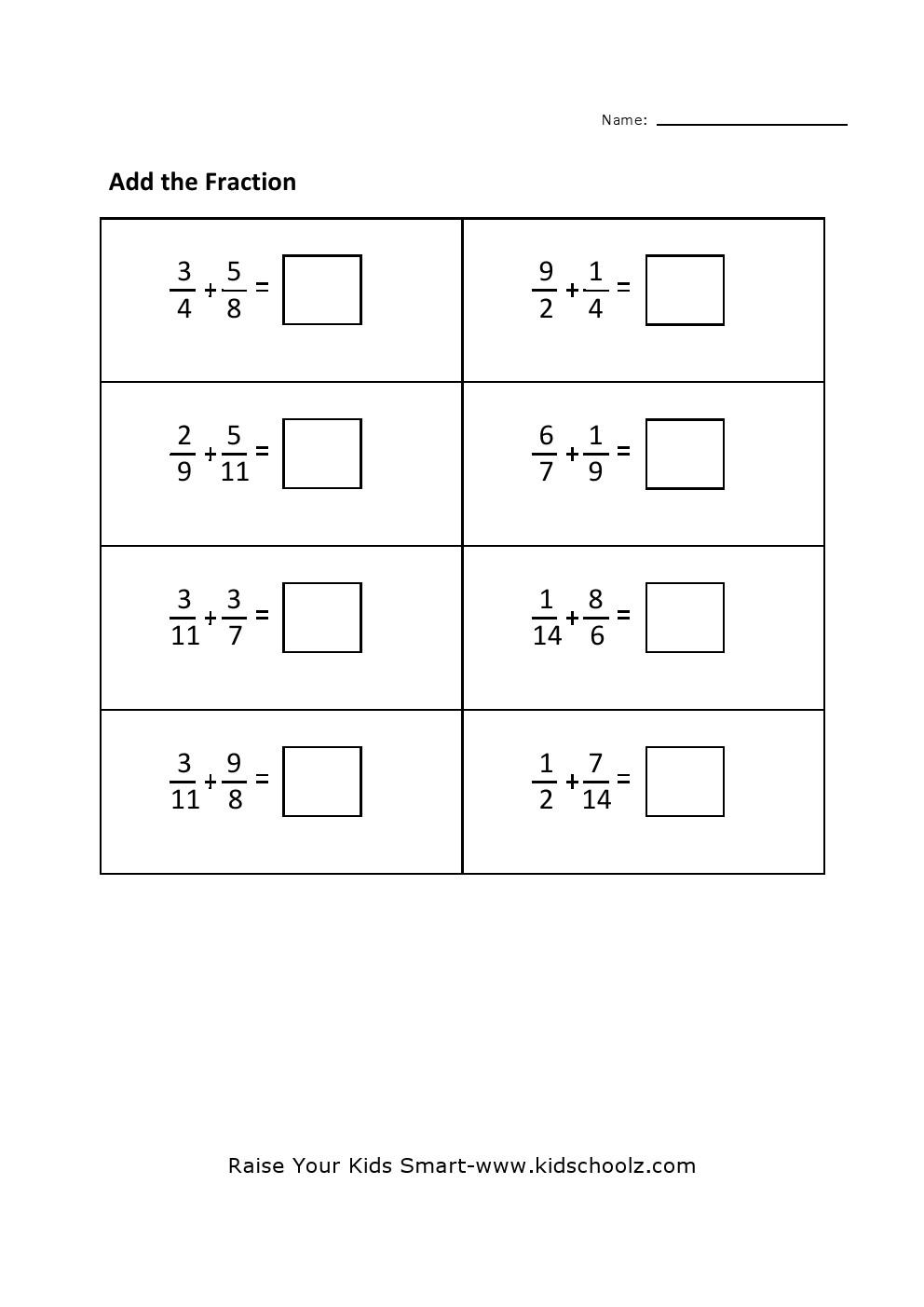 Grade 4 Fraction Addition Worksheet 3 – Addition Worksheets Grade 4