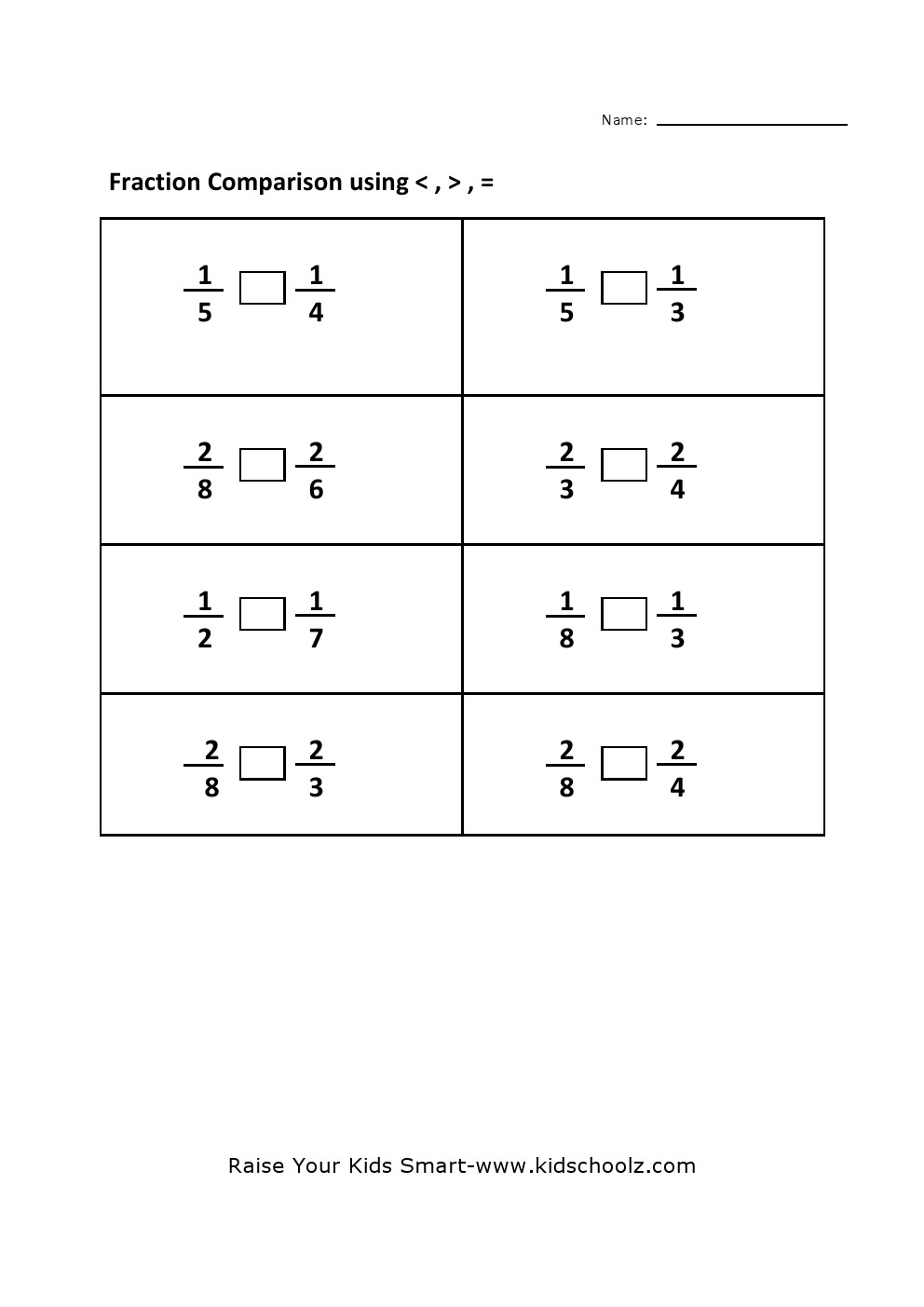 math worksheet : grade 4  comparing fraction worksheet 2  : Compare Fractions Worksheet