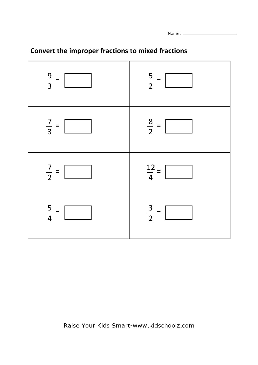 Grade 4 Convert Improper Fraction To Mixed Fraction Worksheet 3 – Mixed Fractions to Improper Fractions Worksheets