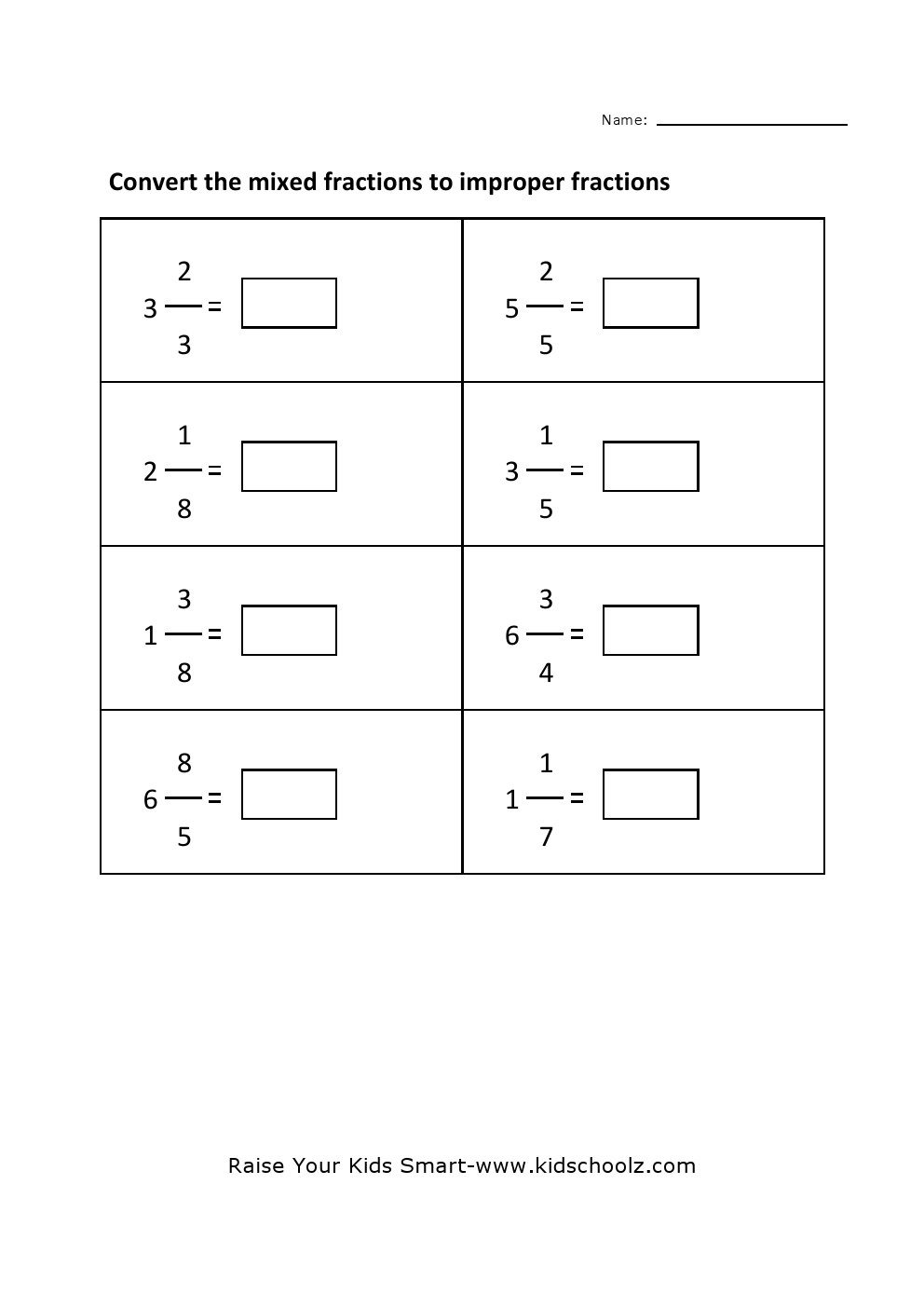Grade 4 Convert Mixed Fraction To Improper Fraction Worksheet 2 – Mixed Fractions to Improper Fractions Worksheets