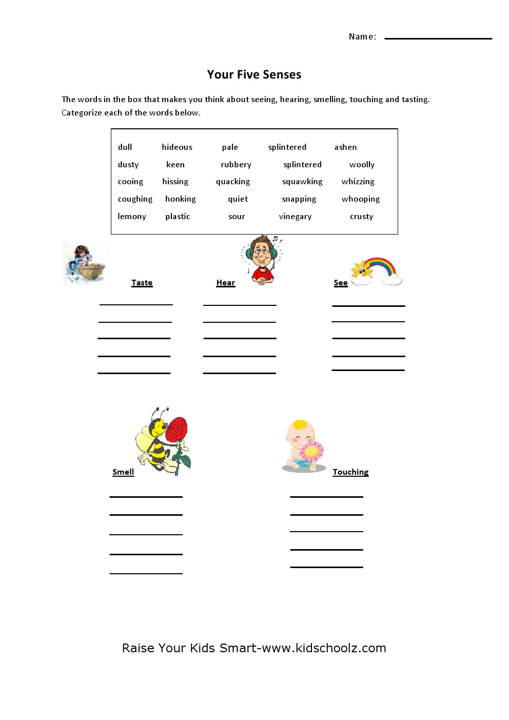 Workbooks worksheets for grade 3 : Grade 4 - Five Senses Worksheet 3 - Kidschoolz