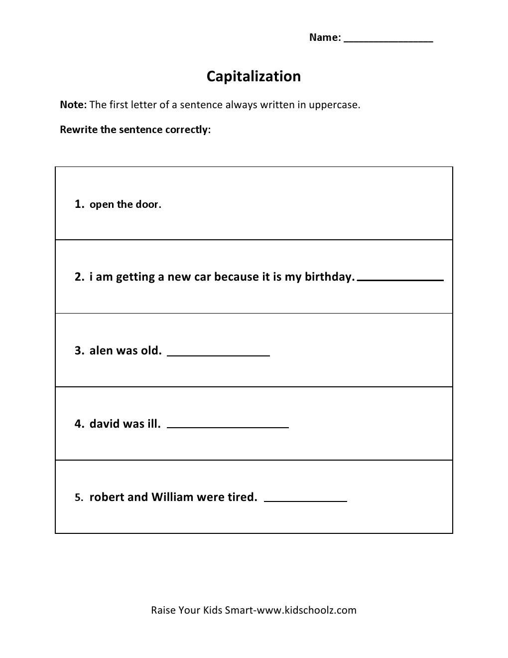 Worksheets Capitalization Worksheet grade 5 capitalization worksheet 3 kidschoolz worksheet
