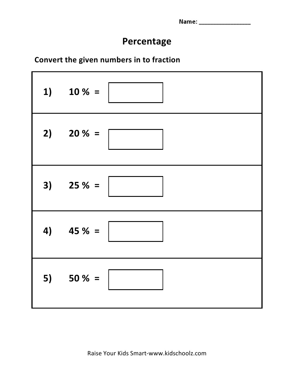 worksheet Convert Percent To Fraction percent to fraction worksheet grade 5 percentage convert worksheet