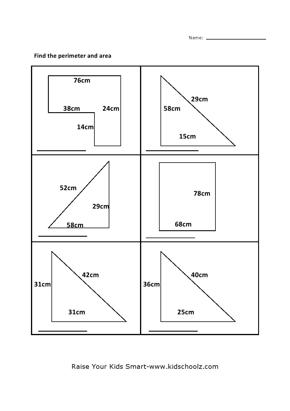 worksheet Finding Area Worksheets grade 5 perimeter area worksheet kidschoolz worksheet