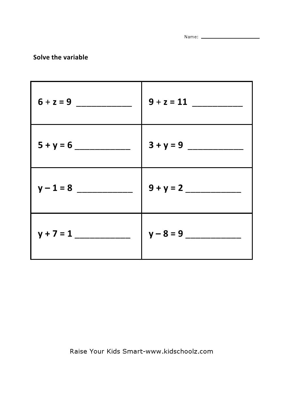 Grade 5 PreAlgebra Worksheet 3 KidschoolzKidschoolz – Pre Algebra Worksheet